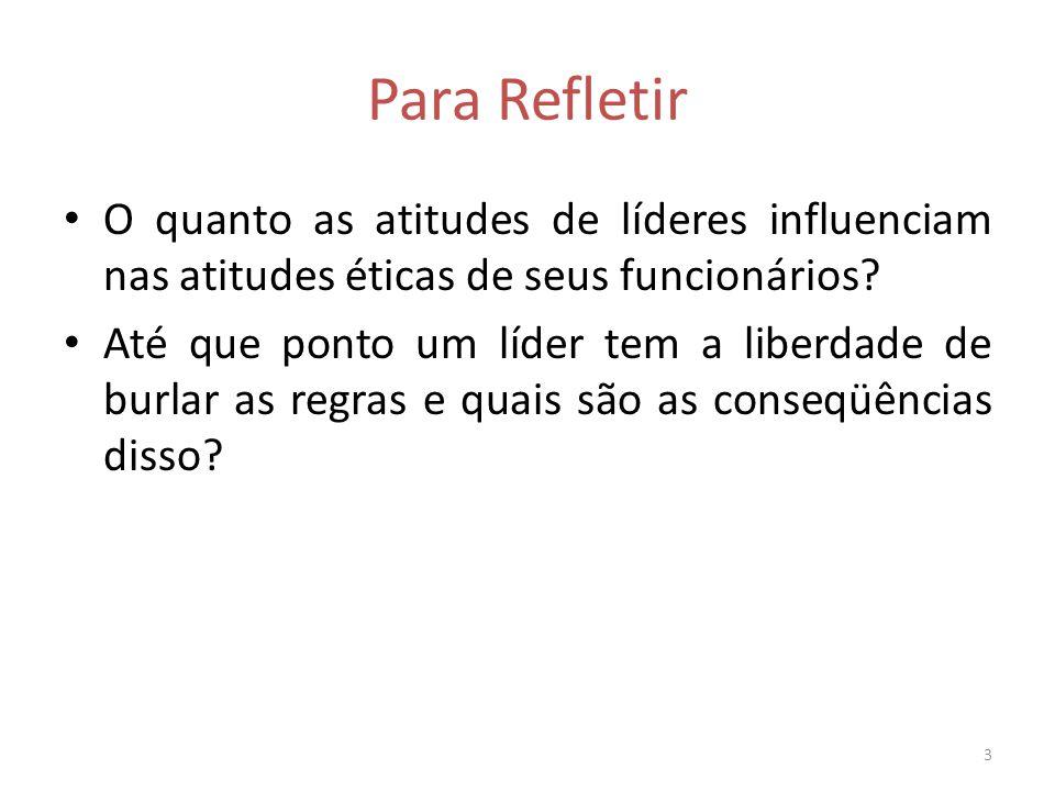 Para Refletir O quanto as atitudes de líderes influenciam nas atitudes éticas de seus funcionários.