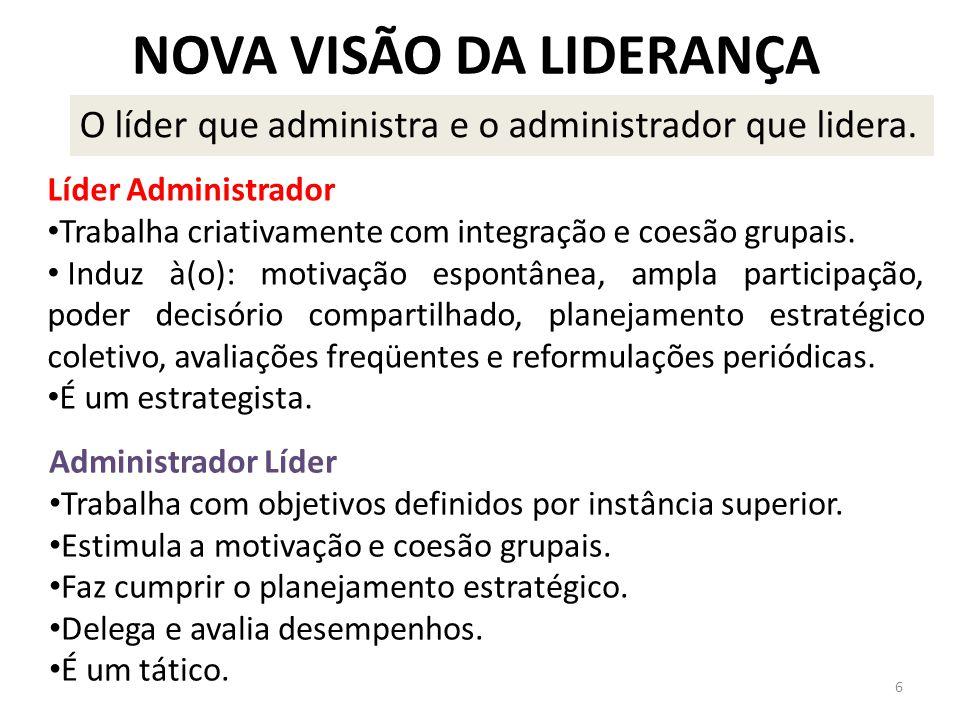 NOVA VISÃO DA LIDERANÇA O líder que administra e o administrador que lidera.