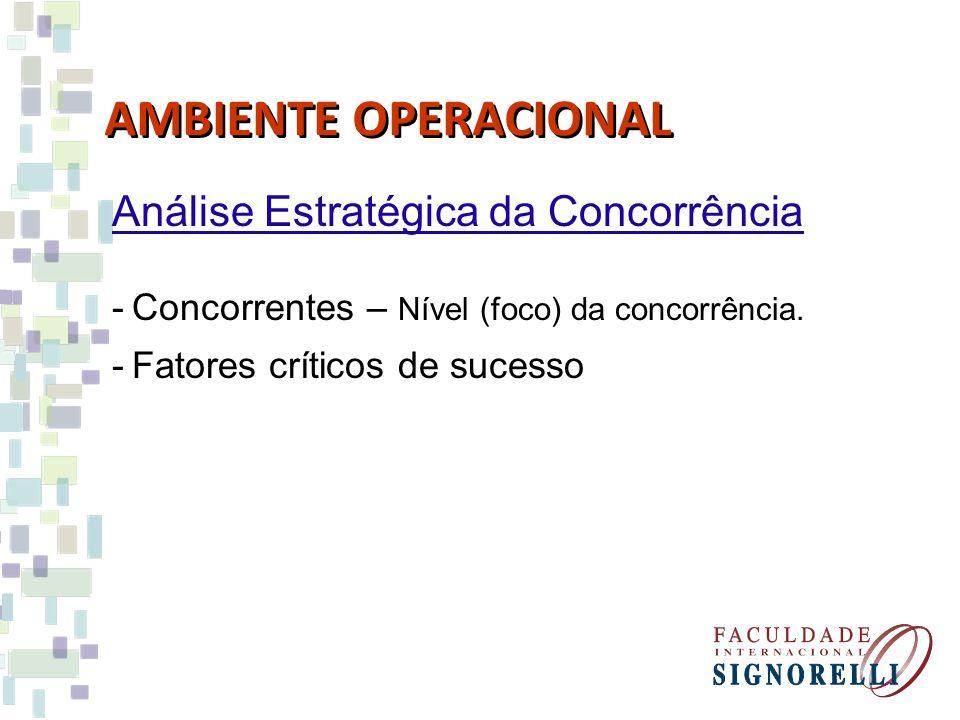 AMBIENTE OPERACIONAL Análise Estratégica da Concorrência -Concorrentes – Nível (foco) da concorrência.