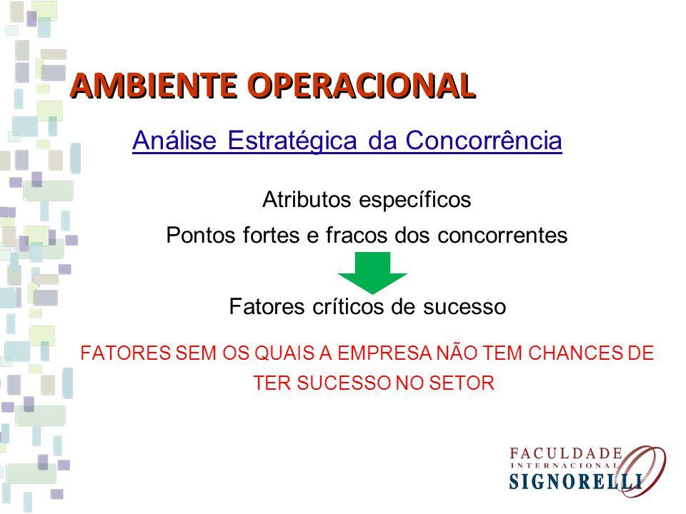 AMBIENTE OPERACIONAL Análise Estratégica da Concorrência Atributos específicos Pontos fortes e fracos dos concorrentes Fatores críticos de sucesso FATORES SEM OS QUAIS A EMPRESA NÃO TEM CHANCES DE TER SUCESSO NO SETOR