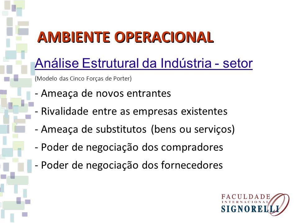 AMBIENTE OPERACIONAL Análise Estrutural da Indústria - setor (Modelo das Cinco Forças de Porter) -Ameaça de novos entrantes -Rivalidade entre as empresas existentes -Ameaça de substitutos (bens ou serviços) -Poder de negociação dos compradores -Poder de negociação dos fornecedores
