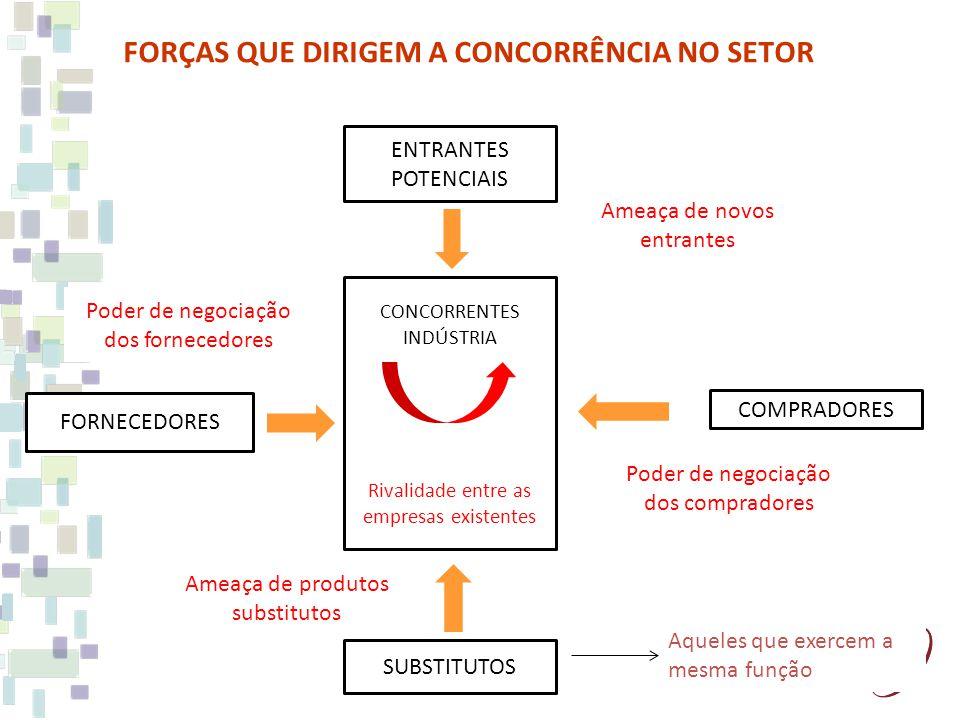 FORÇAS QUE DIRIGEM A CONCORRÊNCIA NO SETOR CONCORRENTES INDÚSTRIA Rivalidade entre as empresas existentes ENTRANTES POTENCIAIS COMPRADORES SUBSTITUTOS FORNECEDORES Ameaça de novos entrantes Poder de negociação dos compradores Ameaça de produtos substitutos Poder de negociação dos fornecedores Aqueles que exercem a mesma função
