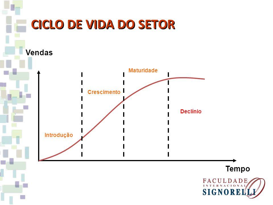 CICLO DE VIDA DO SETOR Declínio Introdução Vendas Tempo Crescimento Maturidade