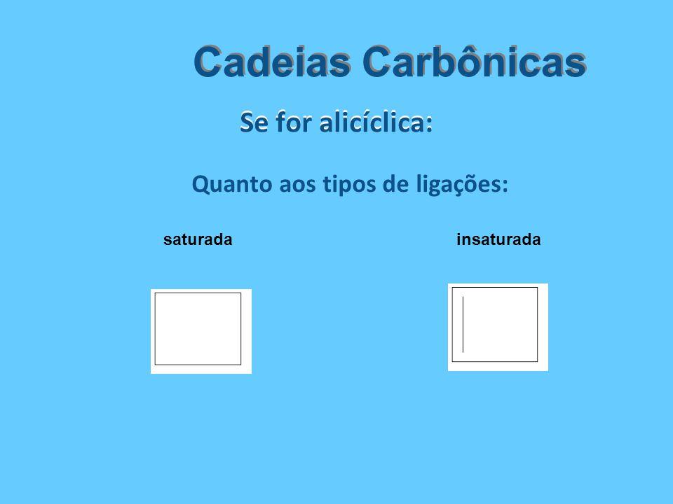 Se for alicíclica: Cadeias Carbônicas Quanto aos tipos de ligações: saturadainsaturada