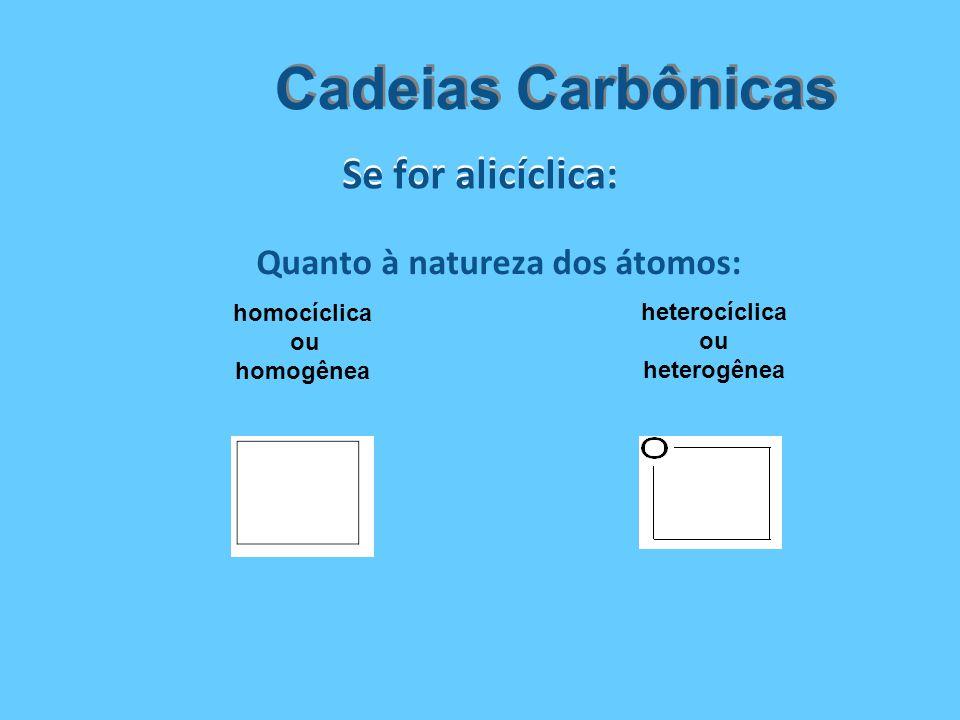 Se for alicíclica: Cadeias Carbônicas Quanto à natureza dos átomos: homocíclica ou homogênea heterocíclica ou heterogênea