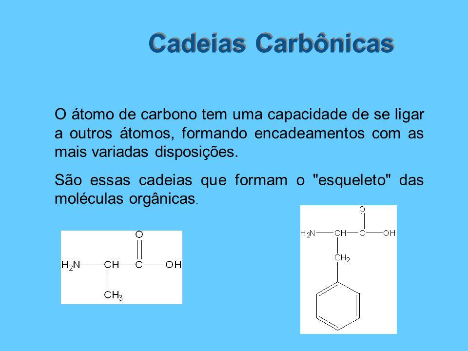 Cadeias Carbônicas O átomo de carbono tem uma capacidade de se ligar a outros átomos, formando encadeamentos com as mais variadas disposições. São ess