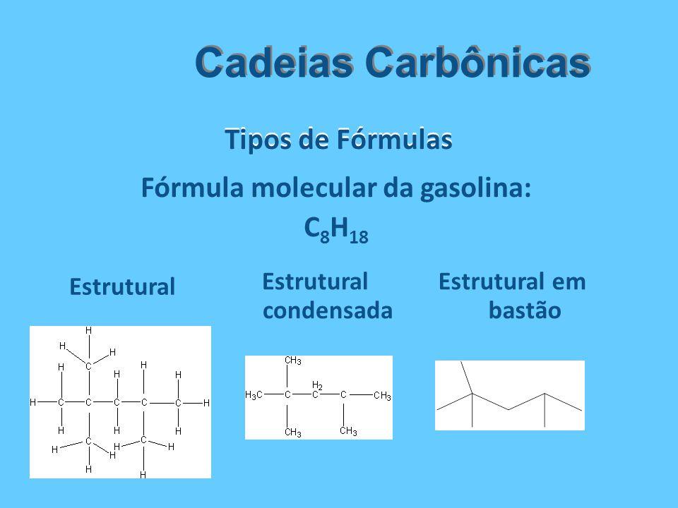 Tipos de Fórmulas Cadeias Carbônicas Estrutural Estrutural condensada Estrutural em bastão Fórmula molecular da gasolina: C 8 H 18
