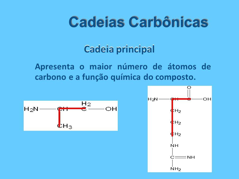 Cadeia principal Cadeias Carbônicas Apresenta o maior número de átomos de carbono e a função química do composto.
