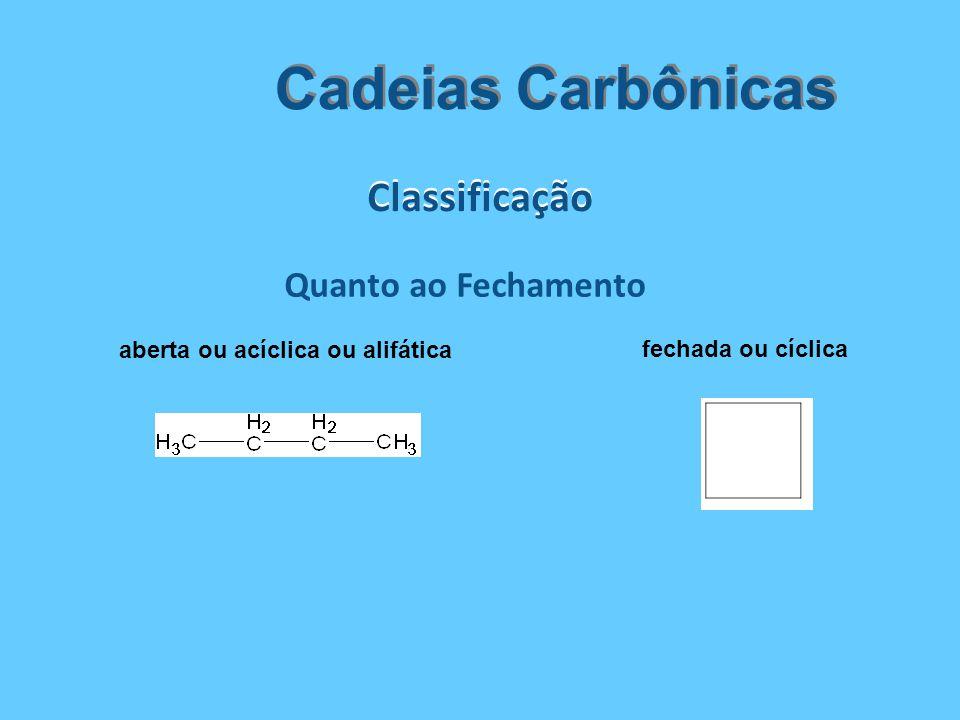 Classificação Cadeias Carbônicas Quanto ao Fechamento aberta ou acíclica ou alifática fechada ou cíclica