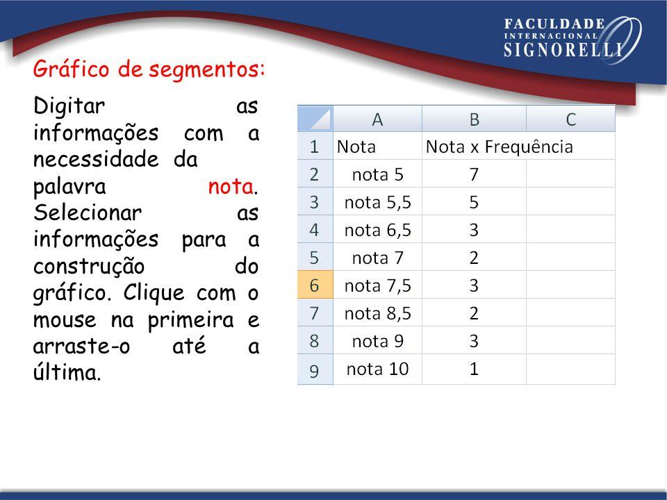 Gráfico de segmentos: Digitar as informações com a necessidade da palavra nota. Selecionar as informações para a construção do gráfico. Clique com o m
