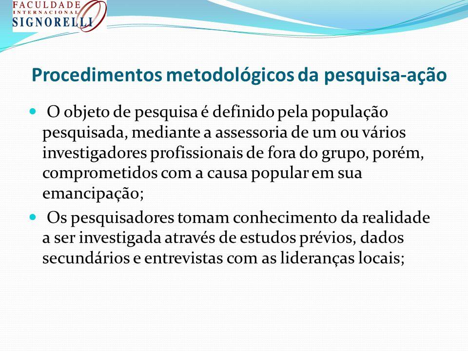 Procedimentos metodológicos da pesquisa-ação O objeto de pesquisa é definido pela população pesquisada, mediante a assessoria de um ou vários investig