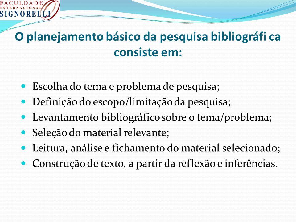 O planejamento básico da pesquisa bibliográfi ca consiste em: Escolha do tema e problema de pesquisa; Definição do escopo/limitação da pesquisa; Levan
