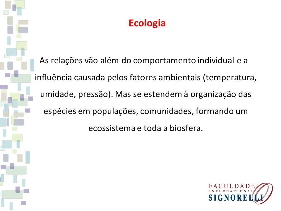 As relações vão além do comportamento individual e a influência causada pelos fatores ambientais (temperatura, umidade, pressão).