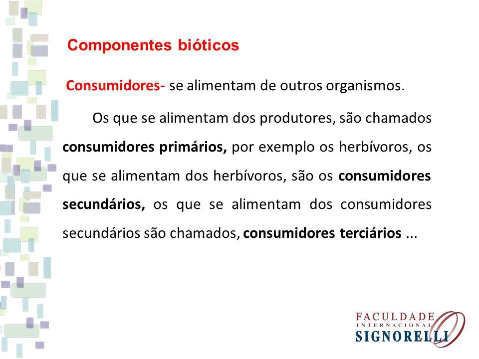 Consumidores- se alimentam de outros organismos. Os que se alimentam dos produtores, são chamados consumidores primários, por exemplo os herbívoros, o