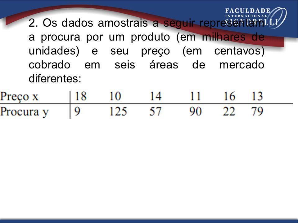 2. Os dados amostrais a seguir representam a procura por um produto (em milhares de unidades) e seu preço (em centavos) cobrado em seis áreas de merca