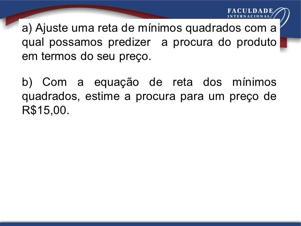 a) Ajuste uma reta de mínimos quadrados com a qual possamos predizer a procura do produto em termos do seu preço. b) Com a equação de reta dos mínimos