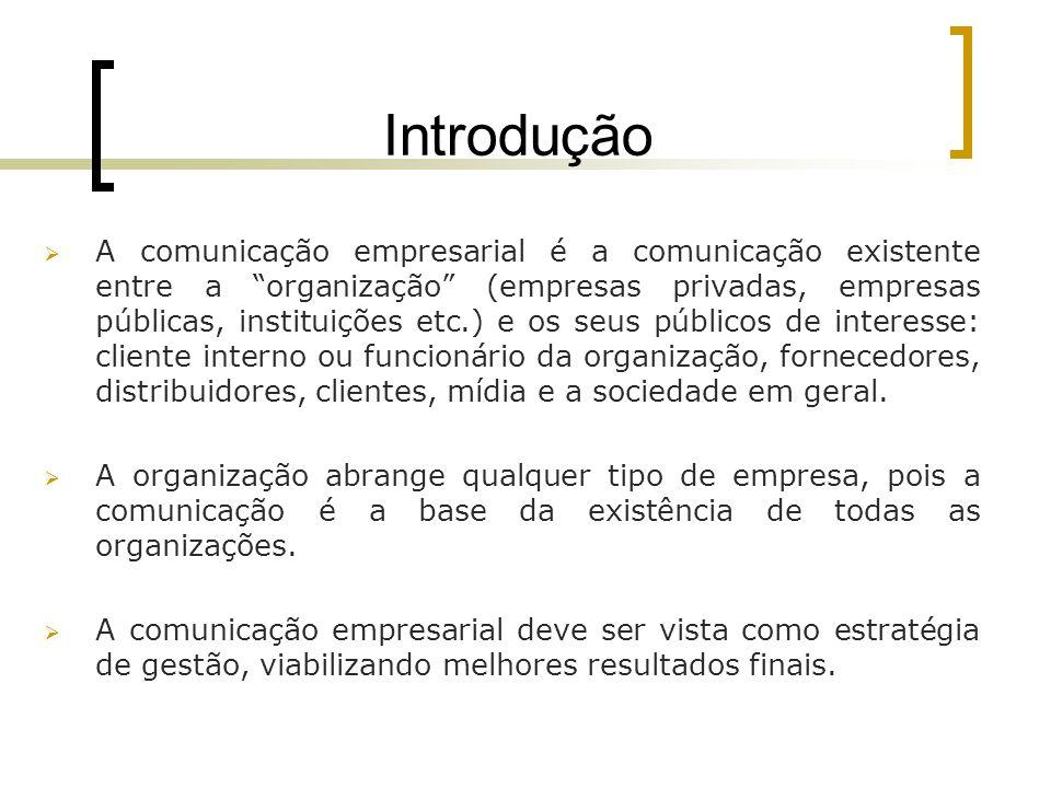 Introdução A comunicação empresarial é a comunicação existente entre a organização (empresas privadas, empresas públicas, instituições etc.) e os seus