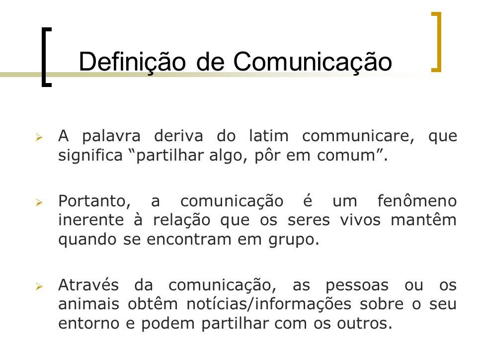 Definição de Comunicação A palavra deriva do latim communicare, que significa partilhar algo, pôr em comum. Portanto, a comunicação é um fenômeno iner