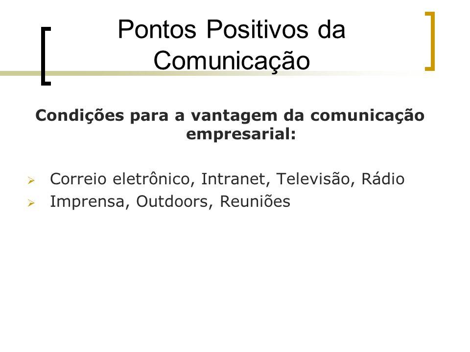 Pontos Positivos da Comunicação Condições para a vantagem da comunicação empresarial: Correio eletrônico, Intranet, Televisão, Rádio Imprensa, Outdoor