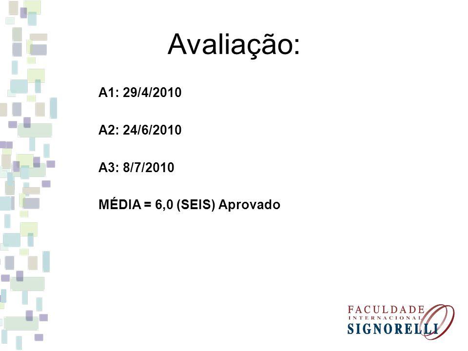 Avaliação: A1: 29/4/2010 A2: 24/6/2010 A3: 8/7/2010 MÉDIA = 6,0 (SEIS) Aprovado