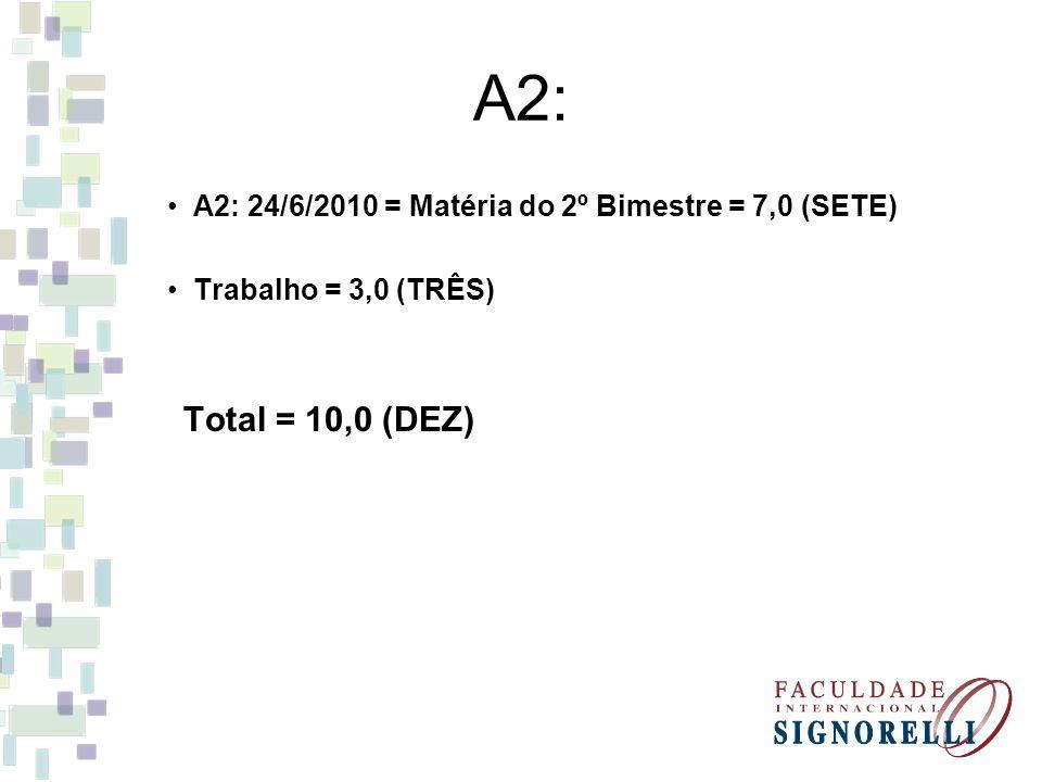 A2: A2: 24/6/2010 = Matéria do 2º Bimestre = 7,0 (SETE) Trabalho = 3,0 (TRÊS) Total = 10,0 (DEZ)