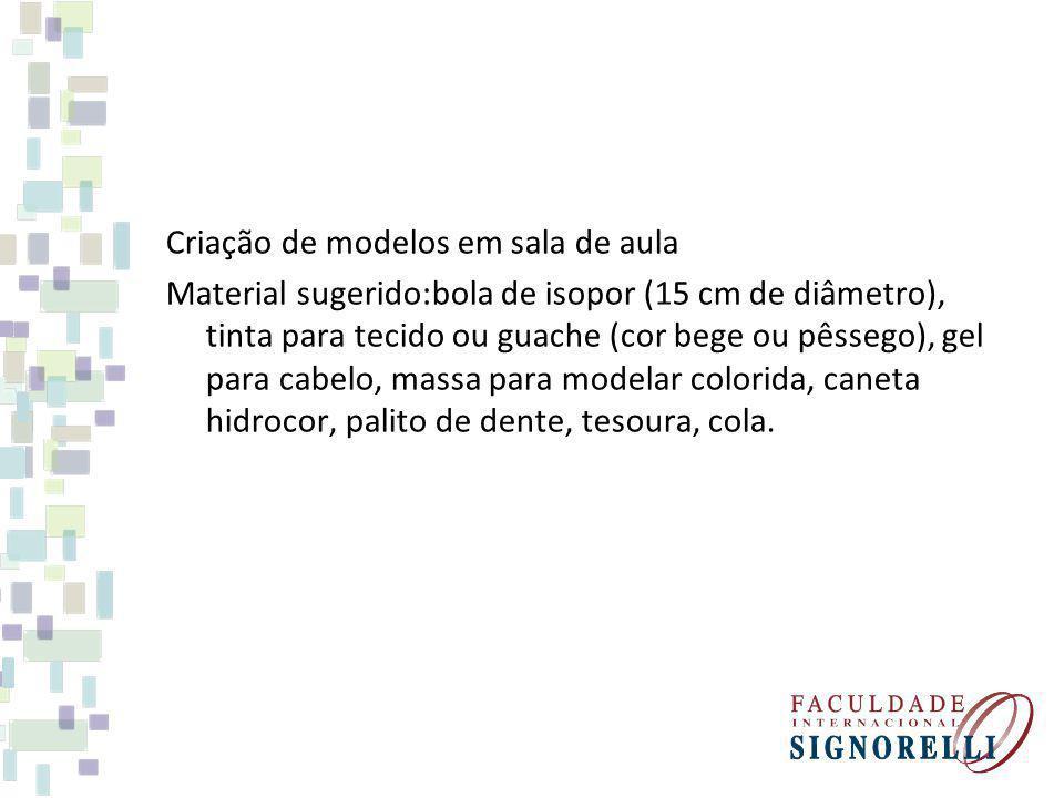 Criação de modelos em sala de aula Material sugerido:bola de isopor (15 cm de diâmetro), tinta para tecido ou guache (cor bege ou pêssego), gel para c