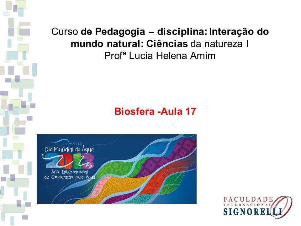 Curso de Pedagogia – disciplina: Interação do mundo natural: Ciências da natureza I Profª Lucia Helena Amim Biosfera -Aula 17