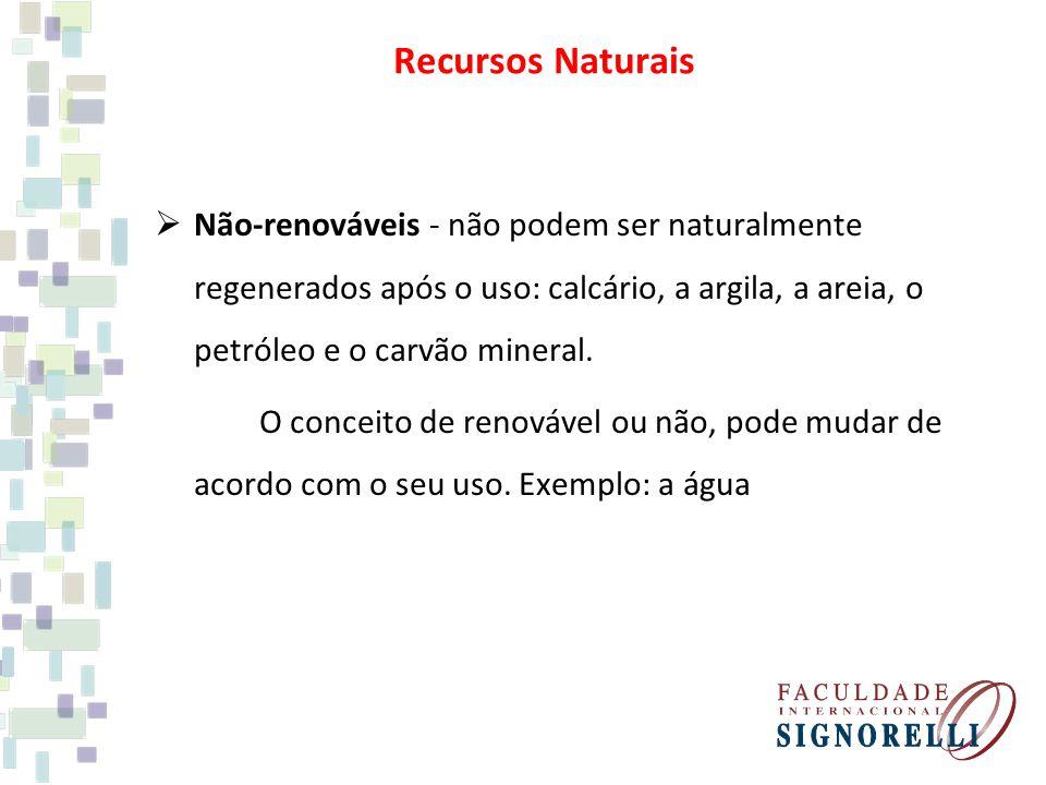 Não-renováveis - não podem ser naturalmente regenerados após o uso: calcário, a argila, a areia, o petróleo e o carvão mineral.