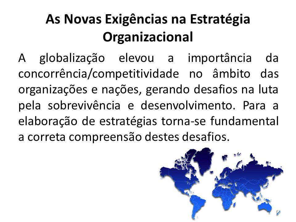 6 A globalização elevou a importância da concorrência/competitividade no âmbito das organizações e nações, gerando desafios na luta pela sobrevivência