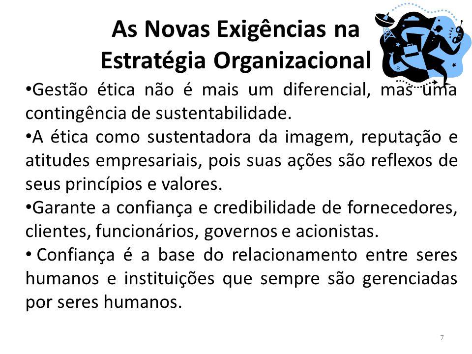 As Novas Exigências na Estratégia Organizacional 7 Gestão ética não é mais um diferencial, mas uma contingência de sustentabilidade. A ética como sust