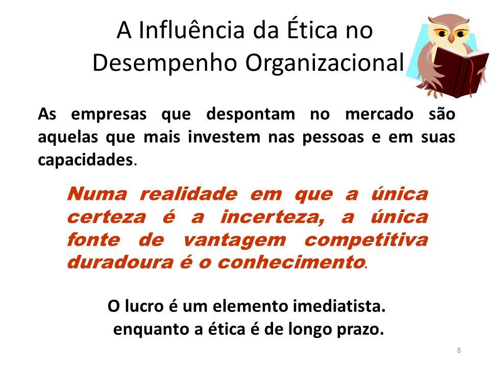 A Influência da Ética no Desempenho Organizacional 8 O lucro é um elemento imediatista. enquanto a ética é de longo prazo. As empresas que despontam n