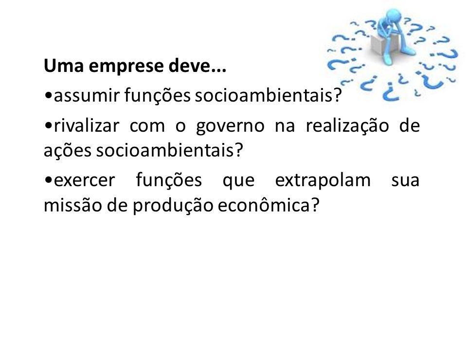 Uma emprese deve... assumir funções socioambientais? rivalizar com o governo na realização de ações socioambientais? exercer funções que extrapolam su