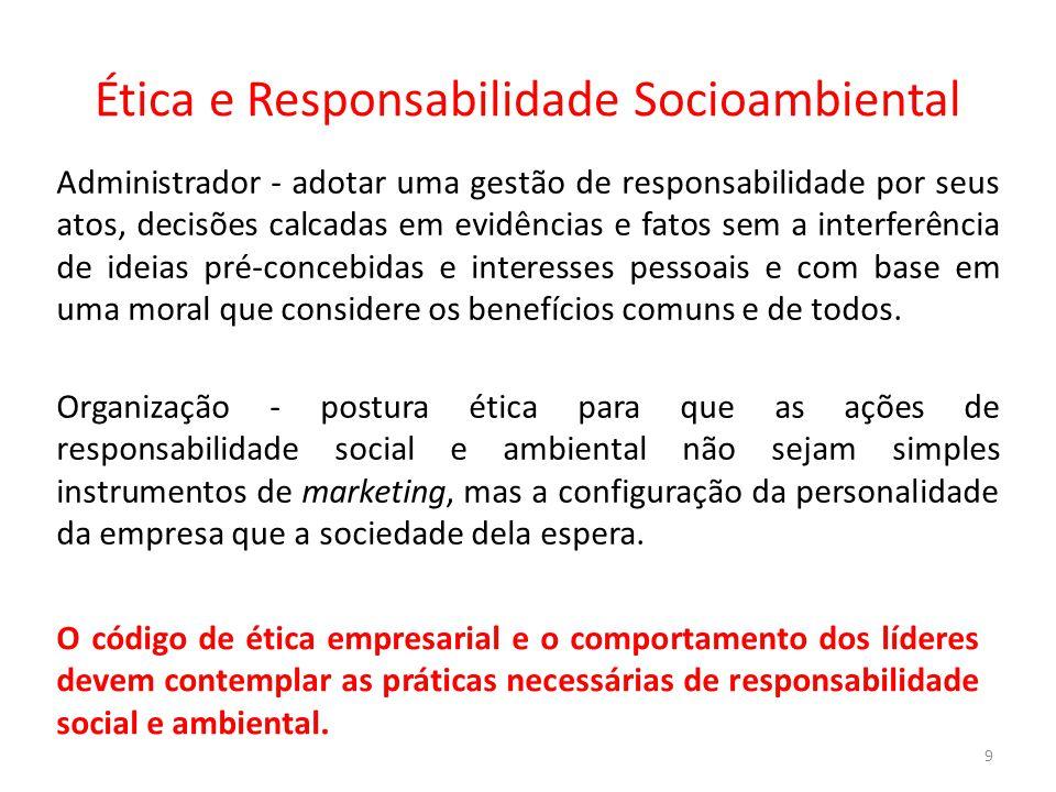 Ética e Responsabilidade Socioambiental 9 Administrador - adotar uma gestão de responsabilidade por seus atos, decisões calcadas em evidências e fatos