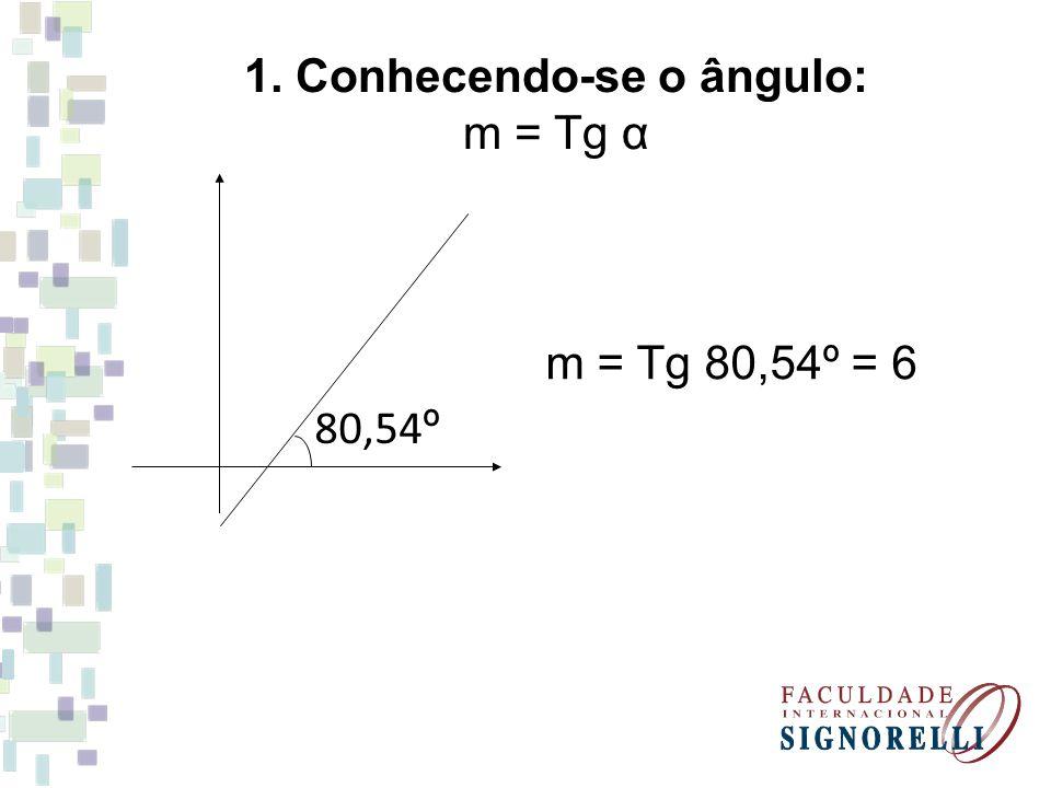 1. Conhecendo-se o ângulo: m = Tg α 80,54 º m = Tg 80,54º = 6