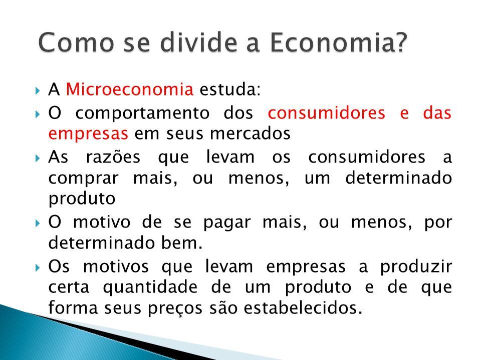 A Microeconomia estuda: O comportamento dos consumidores e das empresas em seus mercados As razões que levam os consumidores a comprar mais, ou menos,