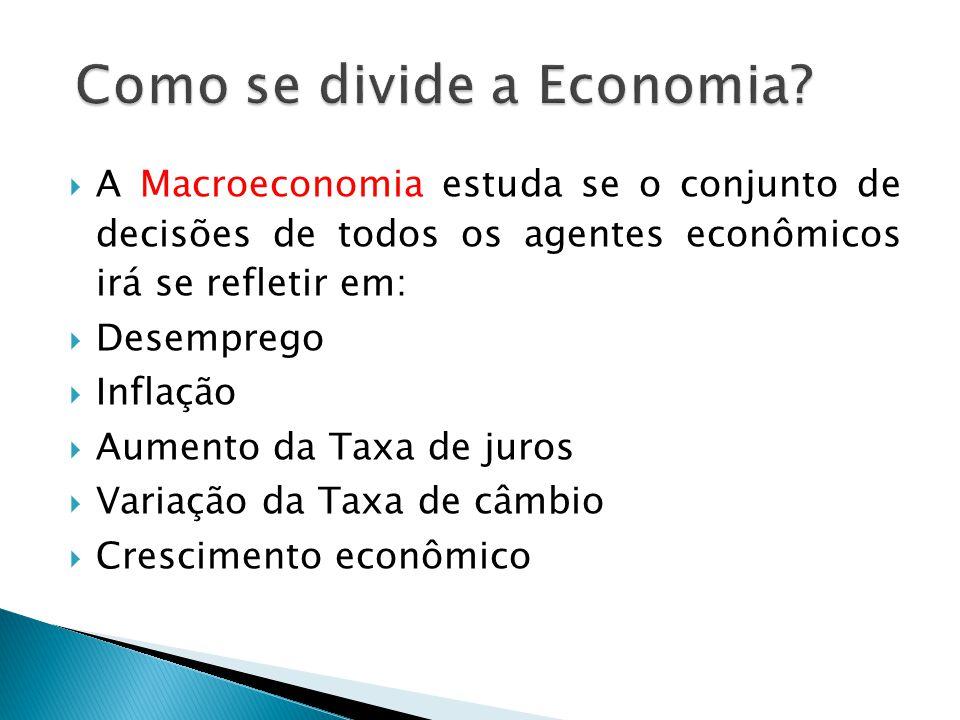 A Macroeconomia estuda se o conjunto de decisões de todos os agentes econômicos irá se refletir em: Desemprego Inflação Aumento da Taxa de juros Varia
