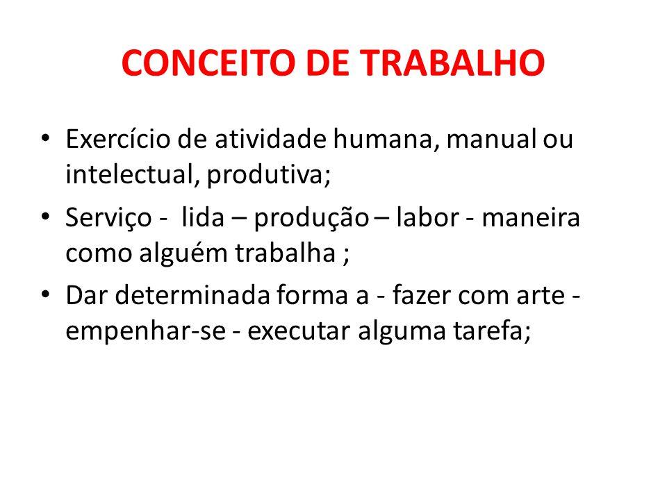 CONCEITO DE TRABALHO Exercício de atividade humana, manual ou intelectual, produtiva; Serviço - lida – produção – labor - maneira como alguém trabalha