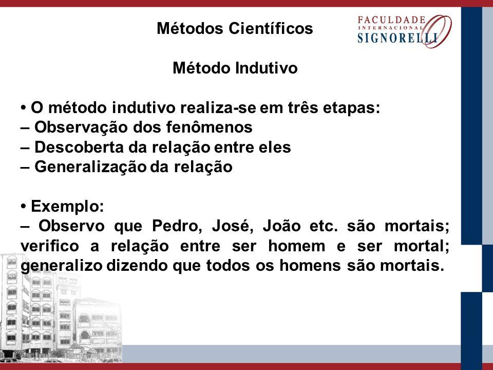 Métodos Científicos Método Indutivo O método indutivo realiza-se em três etapas: – Observação dos fenômenos – Descoberta da relação entre eles – Gener