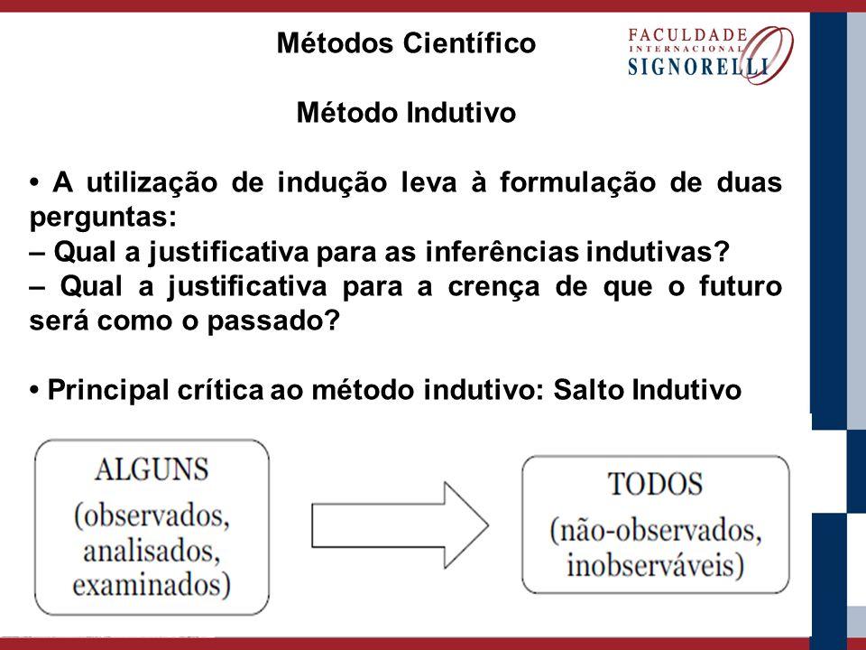 Métodos Científico Método Indutivo A utilização de indução leva à formulação de duas perguntas: – Qual a justificativa para as inferências indutivas?