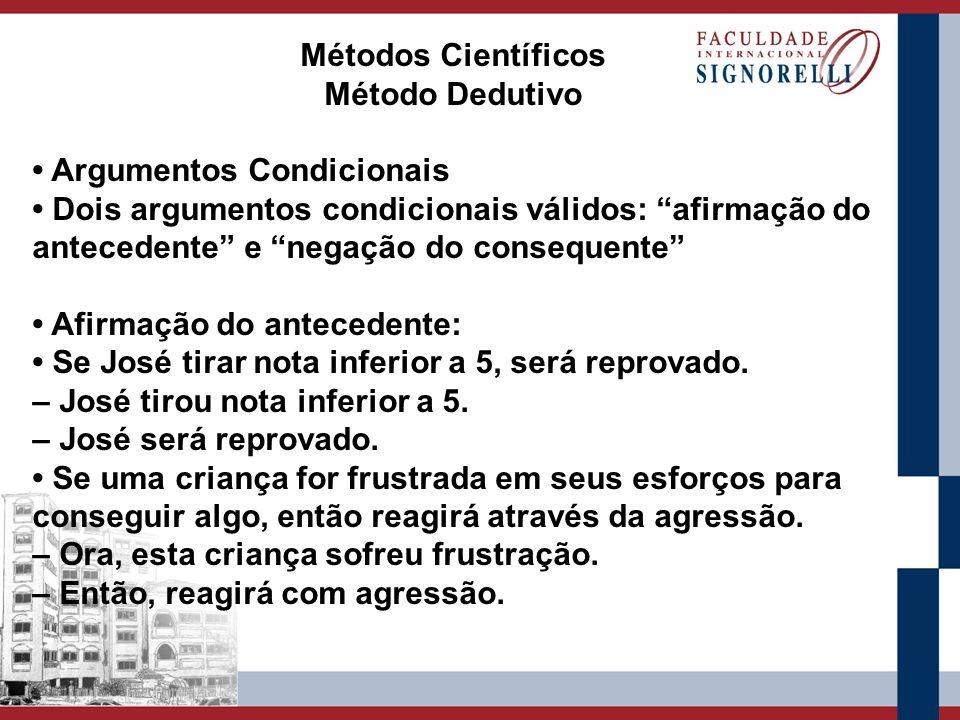 Métodos Científicos Método Dedutivo Argumentos Condicionais Dois argumentos condicionais válidos: afirmação do antecedente e negação do consequente Af
