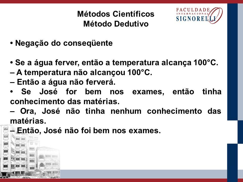 Métodos Científicos Método Dedutivo Negação do conseqüente Se a água ferver, então a temperatura alcança 100°C. – A temperatura não alcançou 100°C. –