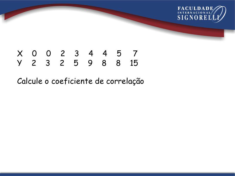 X 0 0 2 3 4 4 5 7 Y 2 3 2 5 9 8 8 15 Calcule o coeficiente de correlação