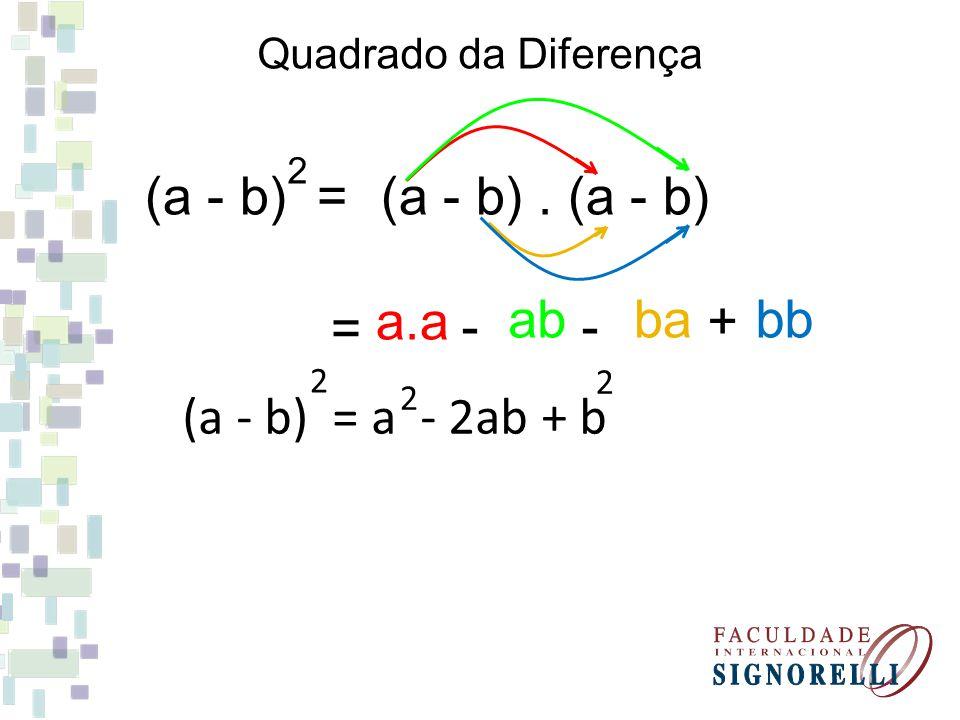 Produto da soma pela diferença (a + b). (a - b) = a.a - ab + ba - bb (a + b). (a - b) = a - b 22