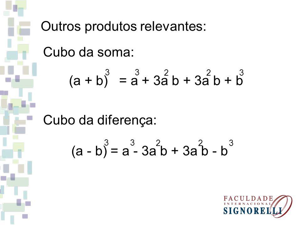 Exercícios Desenvolva os produtos notáveis abaixo: 1)(m + 8) = 2)(n + 4) = 3) (4 + k) = 4) (2c – 3) = 5) (p – 9) = 2 2 2 2 2 6) (2c + 1) = 7) (9a + 2b) = 8) (a +3)(a – 3) = 9) (2z – 4g) = 10) (x – 1)(x + 1) = 2 2 2