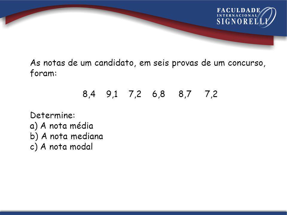 As notas de um candidato, em seis provas de um concurso, foram: 8,4 9,1 7,2 6,8 8,7 7,2 Determine: a) A nota média b) A nota mediana c) A nota modal