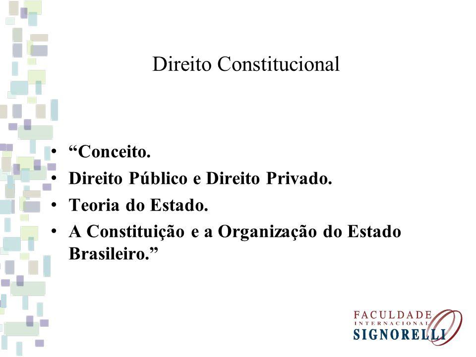 Direito Público ou Privado O direito constitucional, nada mais é do que o conjunto de normas fundamentais instituidoras do Estado e regedoras da sociedade, revelando-se no ramo do Direito Público.