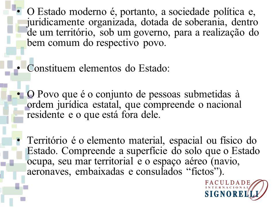 O Estado moderno é, portanto, a sociedade política e, juridicamente organizada, dotada de soberania, dentro de um território, sob um governo, para a r