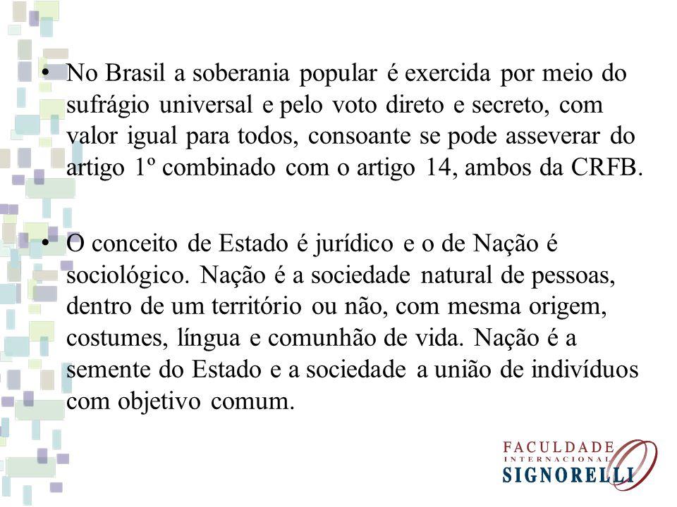 No Brasil a soberania popular é exercida por meio do sufrágio universal e pelo voto direto e secreto, com valor igual para todos, consoante se pode as