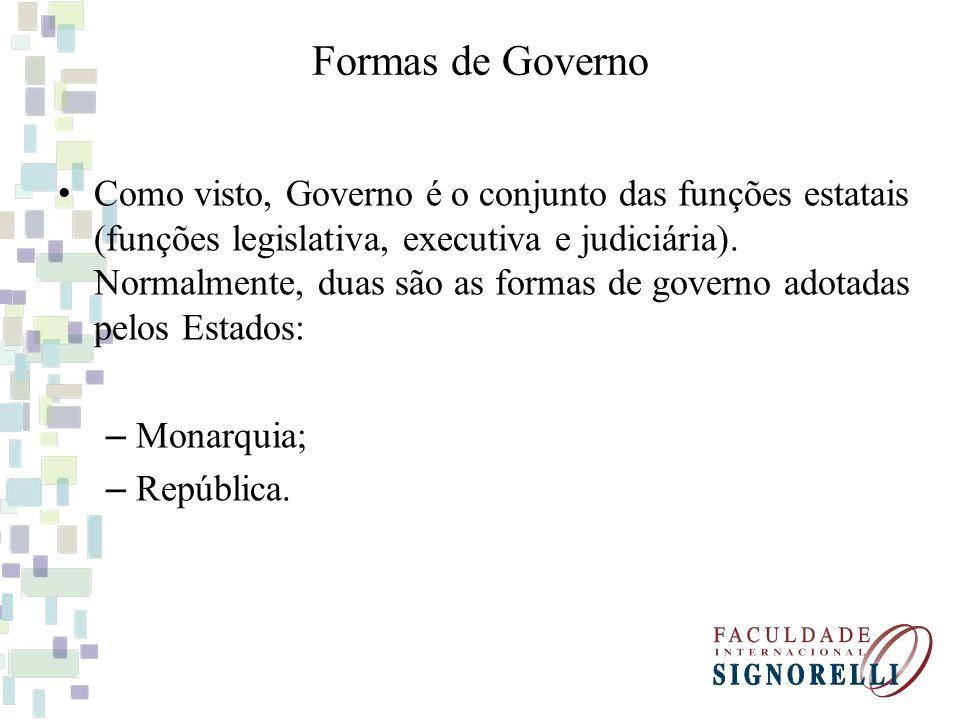 Formas de Governo Como visto, Governo é o conjunto das funções estatais (funções legislativa, executiva e judiciária). Normalmente, duas são as formas