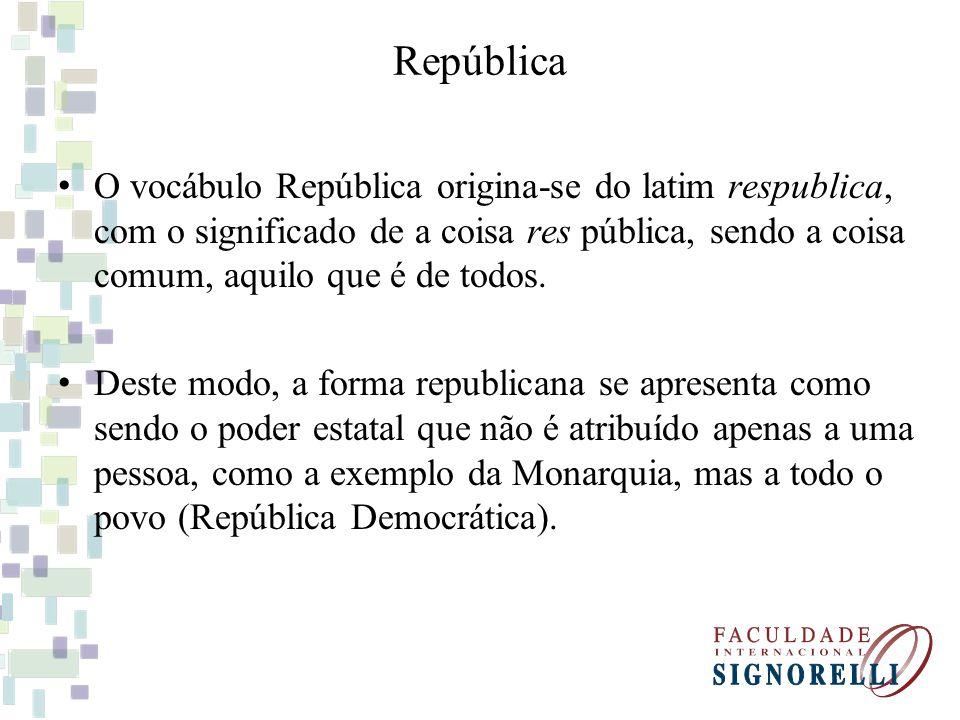 República O vocábulo República origina-se do latim respublica, com o significado de a coisa res pública, sendo a coisa comum, aquilo que é de todos. D
